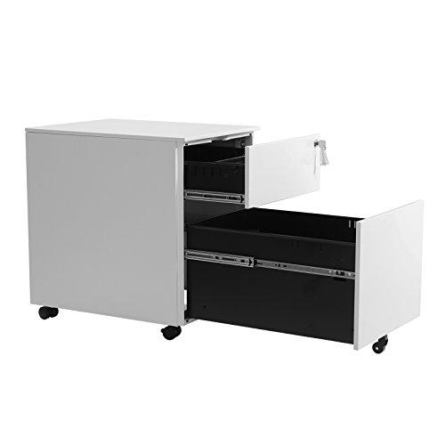 SONGMICS Mobile File Cabinet with 2 Drawers Lockable Steel Pedestal with Suspension File Hanging Rails,Fully Assembled Except Casters, White / OFC50WT