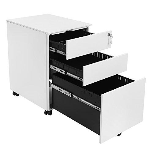 SONGMICS Mobile File Cabinet with 3 Drawers Lockable Steel Pedestal with Suspension File Hanging Rails, Fully Assembled Except Casters, White OFC60WT