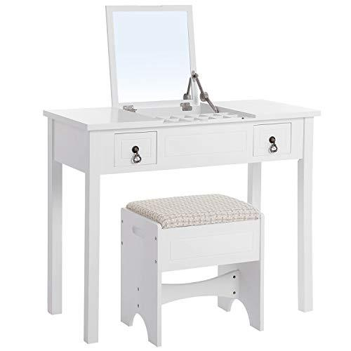 SONGMICS Modern Dressing Table Set with Flip Top Mirror 3 Removable Organisers Padded Stool White RDT01W