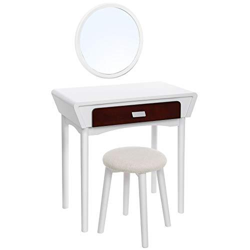 SONGMICS Modern Dressing Table with Wall Mirror, Vanity Set with Solid Wood Legs, Stool and 1 Drawer, for Bedroom, Dressing Room, Small Places, Gift for Loved One, White RDT104WT-
