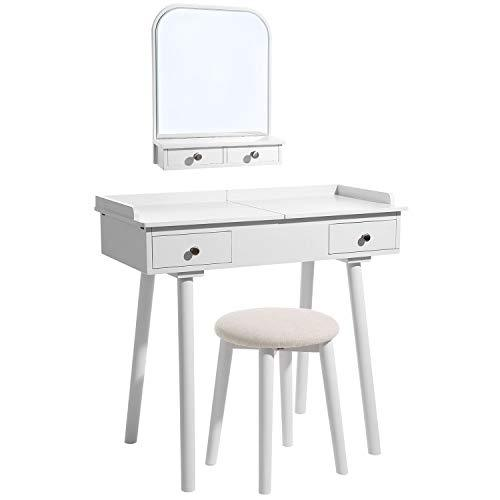 SONGMICS Modern Dressing Table with Wall-Mounted Mirror, Pull-Out Top with Sliding Drawers, Removable Jewellery Tray, Stool and 4 Drawers, for Bedroom, Bathroom, Small Places, White RDT105WT