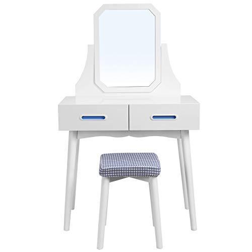 SONGMICS Modern Dressing Table, Wooden Makeup Table, with Mirror, Stool and 2 Drawers, for Bedroom, Dressing Room, White RDT42WT