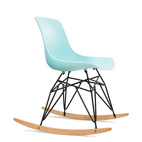 SONGMICS Modern Rocking Chair, Low Back Leisure Lounge Chair, with Metal Legs, Solid Wood Base, Load Capacity 120 kg, for Balcony, Living Room, Bedroom, Porch, Patio, Garden LDC61BU