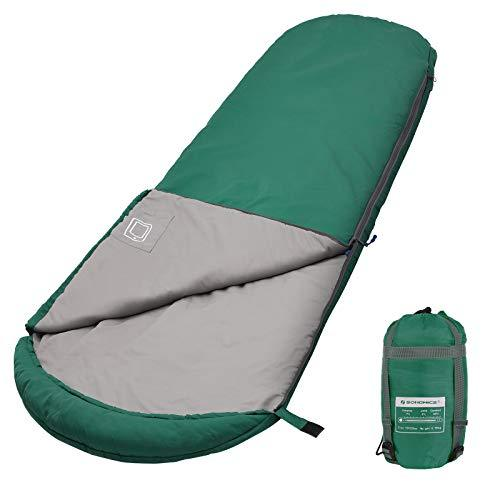 SONGMICS Mummy Sleeping Bag with Hood for -7-15°C, Lightweight, Portable with Compression Sack, for 3 Season Camping, Hiking, Travelling, Backpacking, Dark Green GSB10GN