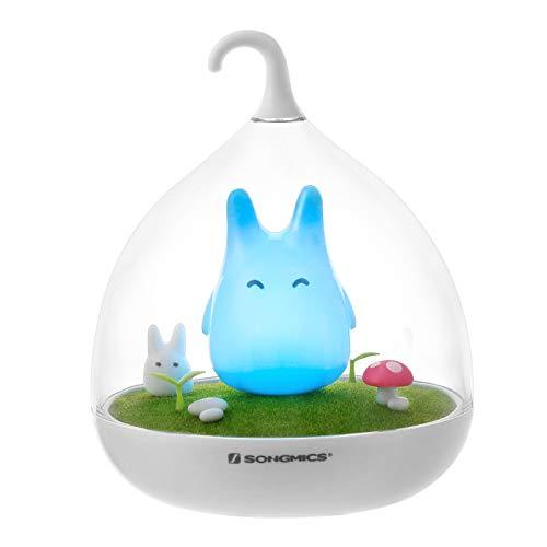 SONGMICS Night Light for Kids, Totoro Night Light, Rechargeable, Intelligent Touch Sensor, Dimmer Lamp Animal Light FSL02