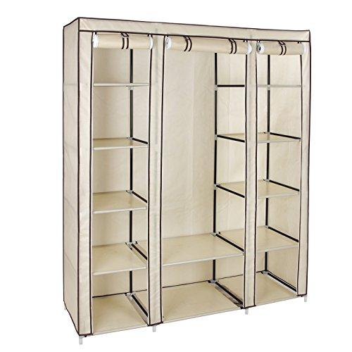 SONGMICS Non-Woven Fabric Wardrobe Cupboard Bedroom Furniture Storage 150 x 45 x 175 cm Beige LSF03M