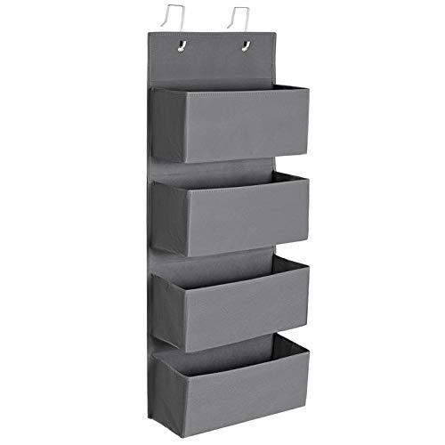 SONGMICS Over-Door Storage with 4 Pockets, Wall Hanging Storage Organiser, Practical and Spacious, for Children's Room Office Bedroom, 33.5 x 12 x 100 cm, Grey RDH04G