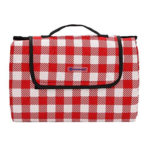 SONGMICS Picnic Blanket, 195 x 150 cm Pongee Camping Beach Mat, with Waterproof Backing, Ultrasonic Stitching, Portable, Washable, for Garden, Park, Red and White GCM86RW