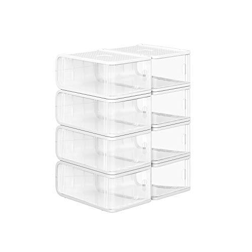 SONGMICS Plastic Shoe Boxes, Pack of 8, Stackable Shoe Storage Organiser with Front Door, Sizes up to UK 8, 21.5 x 32.5 x 13.5 cm, Transparent LSP08TP