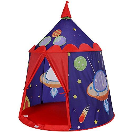SONGMICS Prince Castle Play Tent for Boys Toddlers, Indoor and Outdoor Playhouse, Portable Pop Up Play Teepee with Carry Bag, Gift for Kids, EN71 Certified, Blue LPT01BU