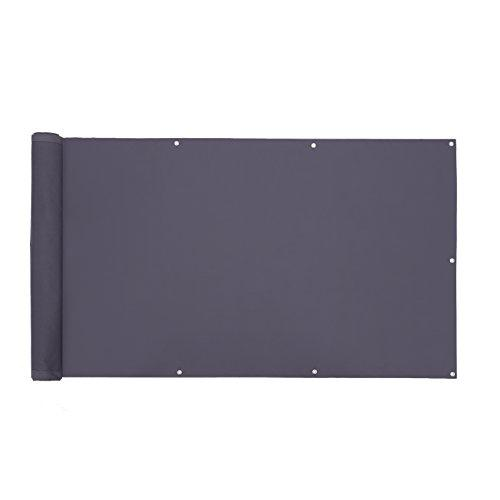 SONGMICS Privacy Screen, 5 x 0.9 m, Smoky Grey, Privacy Shield without Screws, Durable Screen Cover, Ideal for Balcony, Garden, Swimming Pool, Polyester GCO95GY