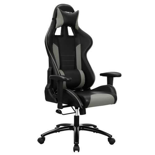 SONGMICS Racing PC Video Game Chair with High Back, Moulding Foam Padded Cushion, Adjustable Headrest and Lumbar Support for Home or Office Desk Black and Grey RCG17GY