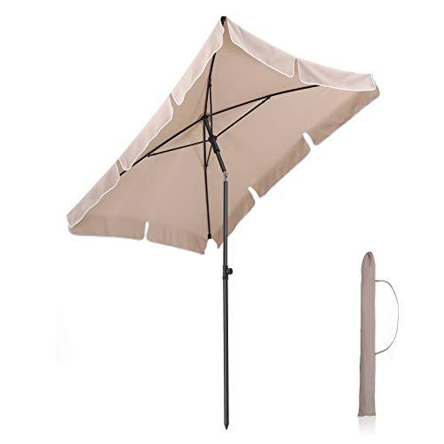 SONGMICS Rectangular Garden Parasol, Sunshade, Sun Protection, Tilt to Short Edges, Polyester Canopy with Carry Bag, for Garden, Balcony, Patio, Base Not Included, Taupe GPU25BR (Base Not Included)