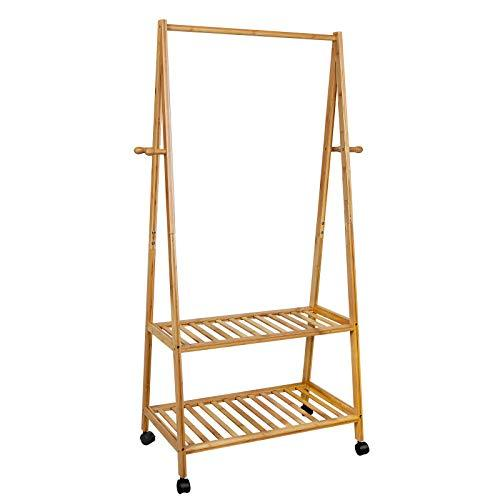 SONGMICS Rolling Coat Rack, Bamboo Garment Rack, Clothes Hanging Rail with 2 Shelves 4 Hooks, for Shoes, Hats and Scarves, in the Hallway, Living Room, Guest Room RCR52N
