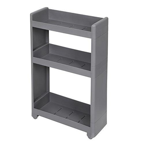 SONGMICS Rolling Trolley, Narrow Storage with 3 Shelves, for Kitchen Bathroom Cellar, 17 cm Wide, Grey KFR09GY