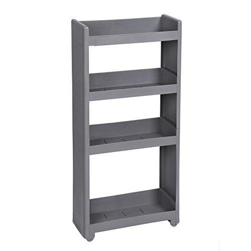 SONGMICS Rolling Trolley, Narrow Storage with 4 Shelves, for Kitchen Bathroom Cellar, Grey KFR10GY