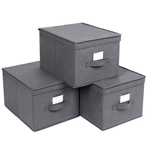 SONGMICS Set of 3 Foldable Storage Boxes with Lids Fabric Storage Cube with Label Holders Storage Organizer Bins Grey 40 x 30 x 25cm RFB03G