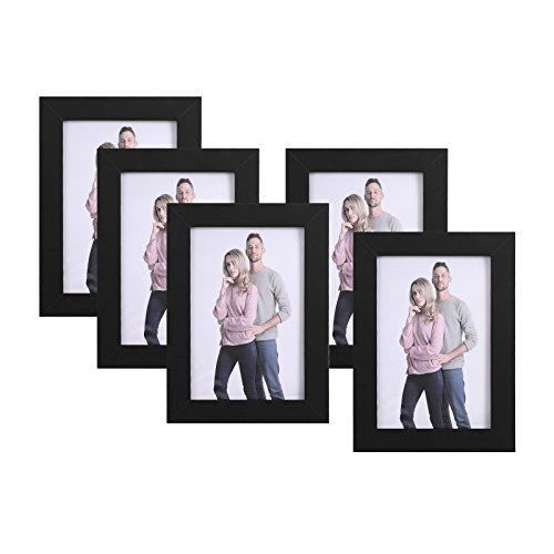 "SONGMICS Set of 5 Photo Frames, 4"" x 6"" (10 x 15 cm), Glass Window, E1 MDF, Black RPF35BK"