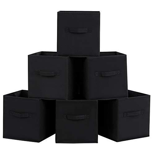 SONGMICS set of 6 Fabric Storage Cubes with Hands Foldable Storage Box Organizer Bins Drawer for Toys, Clothes, DVDs Black 26 x 26 x 28 cm ROB26H