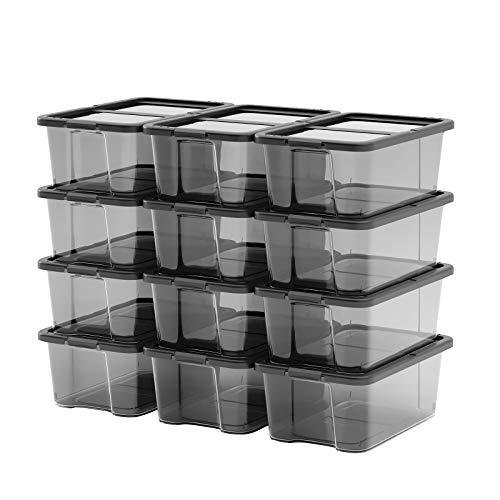 SONGMICS Shoe Boxes with Lids, Set of 12, Stackable Clear Shoe Organiser, Versatile Storage Container for Shoes and Crafts, Sizes Up to UK 7.5, Transparent Black LSP12BK