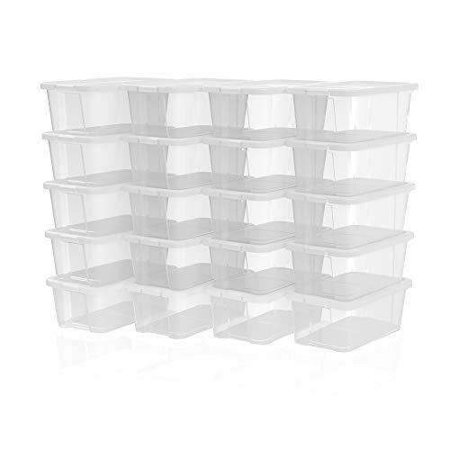 SONGMICS Shoe Boxes with Lids, Set of 20, Stackable Clear Shoe Organiser, Versatile Storage Container for Shoes and Crafts, Sizes Up to UK 7.5, Transparent LSP20WT