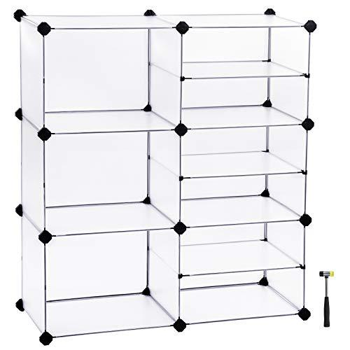 SONGMICS Shoe Rack, Modular Storage Shelving Unit, Cube Storage Cabinet, Interlocking Plastic Cubes, Divider Design, for Wardrobe, Closet, Bedroom, Kid's Room, Includes Rubber Mallet, White LPC36W