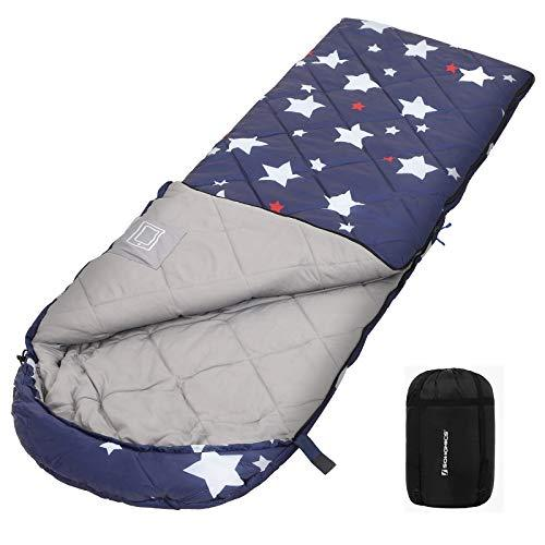 SONGMICS Sleeping Bag with Compression Sack, 4 Seasons, Portable, Lightweight, Compact, Ultrasonic Stitch, Camping, Hiking, with Stars Pattern, Comfort Temp 5-15°C GSB20IN