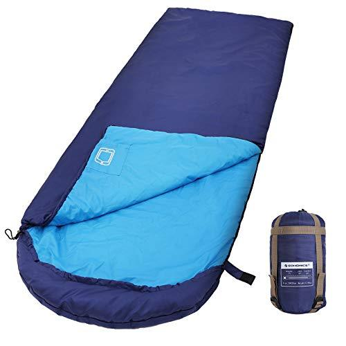 SONGMICS Sleeping Bag with Hood for -7-15°C, Lightweight & Portable with Compression Sack, for 3 Season Travelling, Camping, Hiking, Backpacking, Outdoor Activities, Blue GSB02IN