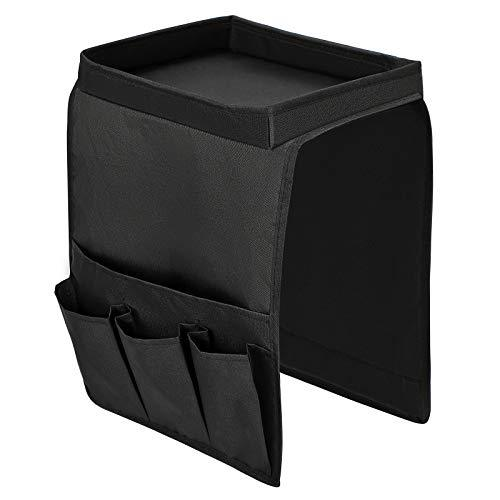 SONGMICS Sofa Armrest Organiser, Hanging Caddy Storage Bag With Tray and 4 Pockets, for Remote Control, Mobile Phone, Waterproof, Fit Various Types of Sofas and Armchairs, Black RSF01H