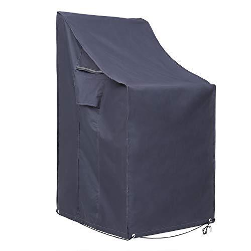 SONGMICS Stacking Patio Chair Cover, 600D Oxford Fabric Waterproof Protective Cover for Outdoor Garden Furniture, Anti-Fade, 66 x 66 x 80/120 cm (L x W x H), Dark Grey GFC95G