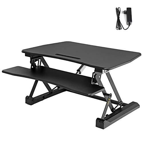 SONGMICS Standing Desk, Electric Height Adjustable Sit-Stand Workstation, for Computer, Laptop and Office Supply, with Removable Keyboard Tray, Black LSD77BKUK