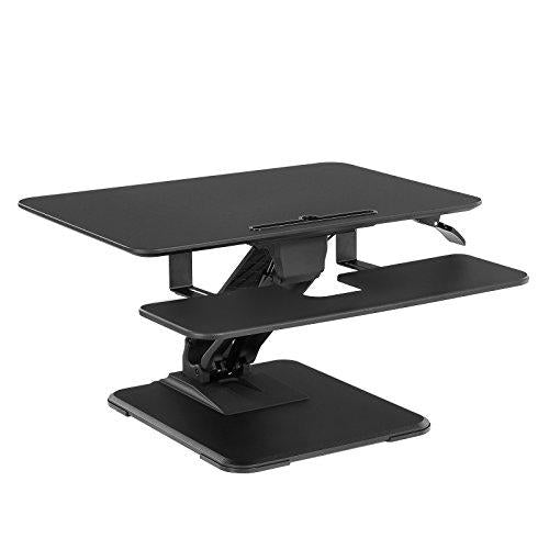 SONGMICS Standing Desk, Height Adjustable Sit-Stand Workstation, with Removable Retractable Keyboard Tray, for Computer, Laptop and Office Supply, Black LSD05BK