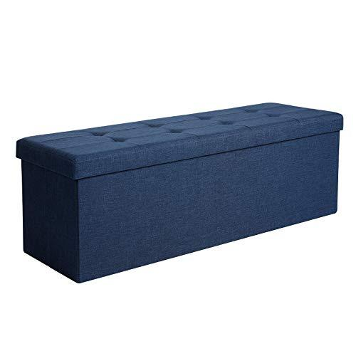 SONGMICS Storage Ottoman Bench, Padded Chest with Lid, Folding Seat, 120L Capacity, Hold up to 300 kg, Navy Blue LSF77IN
