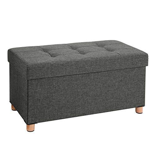 SONGMICS Storage Ottoman, Padded Foldable Bench, Chest with Lid, Solid Wood Feet, Space-Saving, 65L Capacity, Holds up to 300 kg, for Bedroom, Hallway, Children's Room, Dark Grey LSF16GYZ