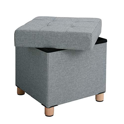 SONGMICS Storage Ottoman, Padded Foldable Bench, Chest with Lid, Solid Wood Feet, Space-Saving, Holds up to 300 kg, for Bedroom, Hallway, Children's Room, Light Grey LSF14GYX