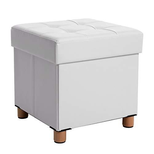 SONGMICS Storage Ottoman, Padded Folding Bench, Chest with Lid, Solid Wood Feet, Space-Saving, Holds up to 300 kg, White LSF14WT