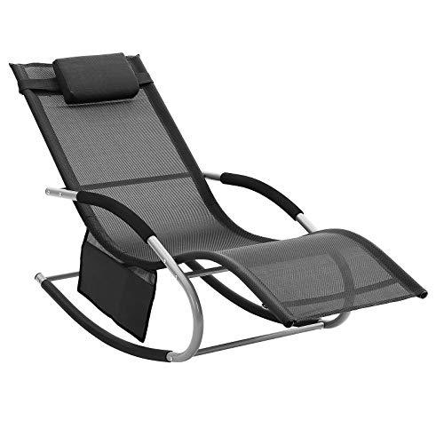 SONGMICS Sun Lounger, Rocking Chair with Headrest and Side Pocket, Iron Structure, Breathable Synthetic Fabric, Comfortable, Max. Load Capacity 150 kg, Black GCB23BK