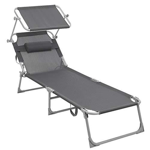 SONGMICS Sun Lounger, with Adjustable Backrest and Sunshade, 250 kg, 193 x 63 x 32 cm GCB19UV1