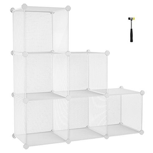 SONGMICS Super Dense DIY Bookshelf, Shoe Rack, Office Storage Cabinet with 6 Metal Mesh Cubes, Interlocking Organiser Unit with Shelves, for Closet Bedroom, with Rubber Mallet, White LPL111W