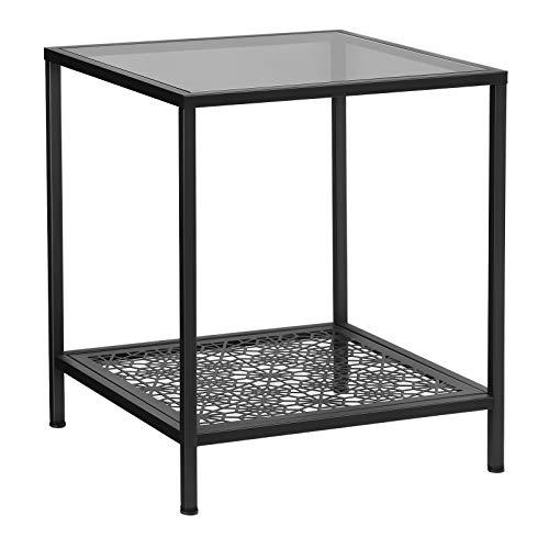 SONGMICS Tempered Glass Side Table, End Table with Flower Pattern Shelf, Robust Sofa and Coffee Table, SGS Test, Decorative for Living Room, Bedroom, 43.4 x 43.4 x 50.7 cm, Black LGT01BK