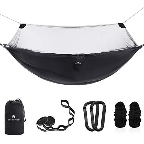 SONGMICS Ultra-Light Hammock with Mosquito Net, Portable Double Hammock, Ripstop Nylon, Quick Dry, Multi-Loop Straps, Load Capacity 300 kg, 275 x 140 cm, for Camping, Garden, Black and Grey GDC16BG