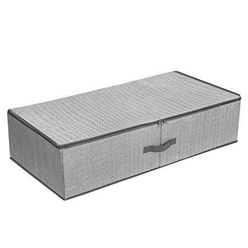 SONGMICS Underbed Storage Bag, Storage Boxes Under Bed with Adjustable Divider, Foldable Wardrobe Organiser, Above Wardrobe, for Clothes Sheets Blankets, 82 x 42 x 20 cm, Grey RUB01G
