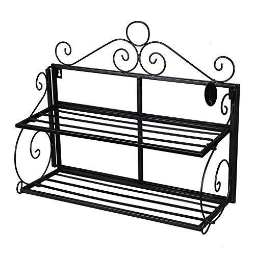 SONGMICS Wall Shelf, 2 Layers Bookcase Shelves, Bathroom Wall Mounted Storage Rack, Metal, Black LSN02B