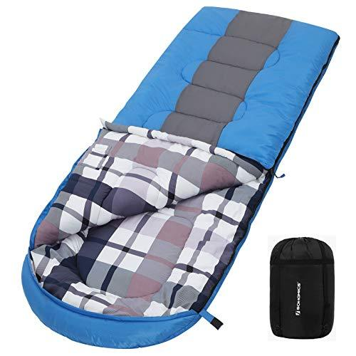 SONGMICS Wide Camping Sleeping Bag with Compression Sack, Ideal Temp 5-15°C, 3-4 Seasons, Easy to Carry, Lightweight, Compact, for Camping, Hiking, Travelling, 220 x 84 cm, Blue and Dark Grey GSB30GU