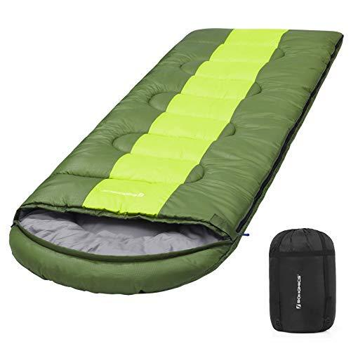 SONGMICS Wide Sleeping Bag with Compression Sack, 4 Seasons, Easy to Carry, Lightweight, Compact, for Camping Excursion, 220 x 84 cm, Ideal Temp 5-15°C, Military Green GSB02AJ