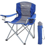 SONGMICS XL Folding Camping Chair, with Sponge Padded Seat, Large and Comfortable, Durable Structure, Max. Load Capacity 150 kg, Outdoor Chair, Blue GCB07BU