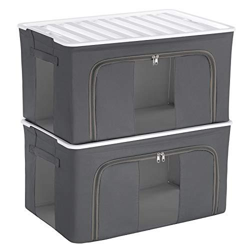 SONGMICS XL Storage Boxes with Plastic Lid, Strong Stackable Container with Iron Frame, Clothes Organiser with Transparent Windows, Storage Basket for Toys, 57.5 x 37.5 x 30 cm, Set of 2, Grey RMLB02G