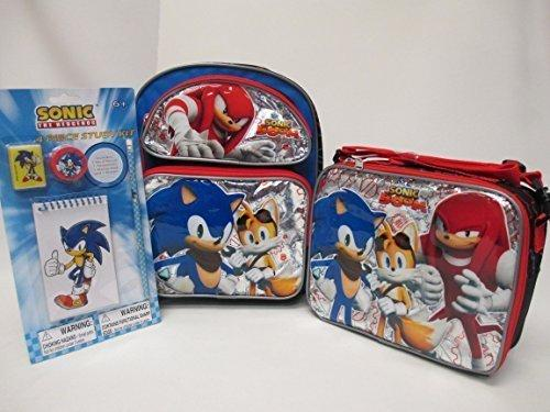 "Sonic The Hedgehog Toddler Medium 12"" Backpack Book Bag, Lunch Box & 4 Piece Study Kit by Disney"