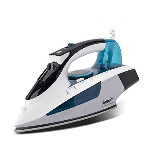 SONIFER Steam Iron Garment Steamer 2400W Generator Variable Steam Double Ceramic Soleplate 400ML Tank 6.2ft Cord-Sky Blue