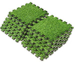 Sorbus Grass Mat Interlocking Floor Tiles - Soft Artificial Grass Carpet - Multipurpose Foam Tile Flooring - Great for Patio, Playroom, Gym, Tradeshow, 12 Sq ft (12 Tiles)